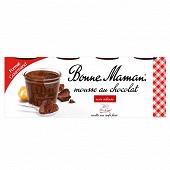 Bonne Maman mousse aux oeufs frais chocolat intense 8x50g format gourmand