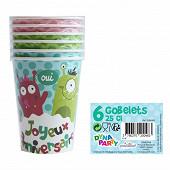 Gobelets carton happy monster 6x25cl