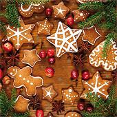 20 Serviettes en ouate 40x40cm 3plis Biscuits Photoprint