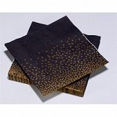 20 Serviettes en ouate 40x40cm 3plis Paillette Noir et Or