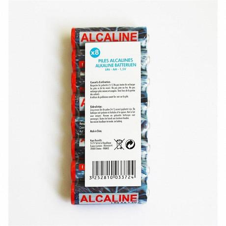 8 piles alcalines AA (LR06)
