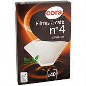 Cora filtres à Café blanc n°4 x40 56g/m2