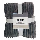Plaid imprimé 130x160cm  Ravi gris anthracite beige/ecru
