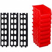 Kinzo lot de 8 casiers empilables 12 x 10 cm avec rail de fixation