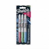 3 marqueurs Sharpie fine METALLIC  Vert,Bleu,Rouge