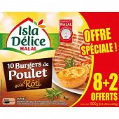 Isla Délice burger de poulet goût rôti halal 8 + 2 offerts 800g