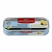 Les mouettes d'Arvor filets de maquereaux au naturel et au citron bio 169G