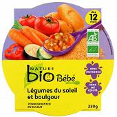 Nature bio assiette légumes du soleil boulgour 12 mois 230g