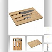 Planche à découper en bois avec 3 couteaux