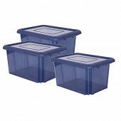 Lot de 3 boite de rangeent funny box 55l bleu profond acidulé