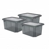 Lot de 3 boites de rangement funny box 55l grix acidulé