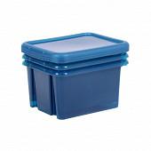 Eda lot de 3 boites de rangement funny box bleu profond acidulé 30l