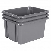 Lot de 3 promobox gris galet 30l