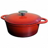 Cocotte ovale fonte 29 cm avec couvercle coloris rouge