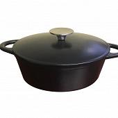 Cocotte ovale fonte 33 cm avec couvercle coloris noir mat