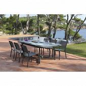 Ensemble abricot 190/250x100 1 table + 6 chaises