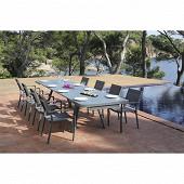 Ensemble noisette 1 table + 8 fauteuils