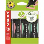 4 surligneurs Stabilo green boss pastel