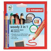 4 crayons multi surfaces woody 3 in 1 pour ardoises et tableau