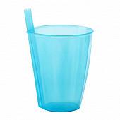 Mesa bella verre bleu translucide à paille intégrée 30cl