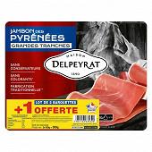 Delpeyrat jambon des Pyrénées 4 grandes tranches lot 2+1 offert 300g