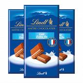 Lindt maître chocolatier lait extra fin 3x110g