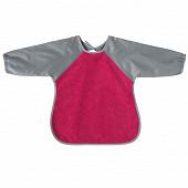 Bavoir tablier manches 2ème âge 37x42cm éponge/nylon rose/gris Babycalin