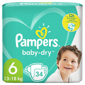 Pampers baby dry langes geant 34 ct