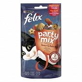 FELIX Party Mix Friandises pour chat Saveur Grillade : B?uf, Poulet, Saumon - 60 g