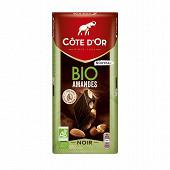 Côte d'or tablette noir amande bio 150g