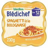 Blédina blédichef spaghettis à la bolognaise dès 12 mois 230g