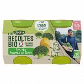 Bledina les récoltes bio brocolis pomme de terre dès 4/6 mois 2x130g