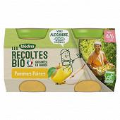 Blédina les récoltes bio pommes poires dès 4/6 mois 2x130g