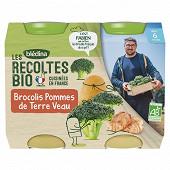 Bledina les récoltes bio brocolis pommes de terre veau dès 6 mois 2x200g