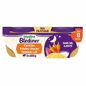 Blédina blédiner duo carottes et patate douce semoule 2 x 200g dès 8 mois