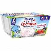 Nestlé P'tit onctueux fruits rouges dès 6 mois 4x100g