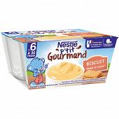Nestlé p'tit gourmand crème dessert biscuitée dès 6 mois 4x100g