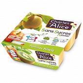 Charles & Alice spécialité de pommes et kiwis 4x97g sans sucres ajoutés