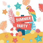 Serviettes x20 summer party 33X33cm 3 plis