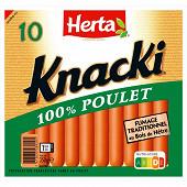 Herta knacki 100% poulet fumage traditionnel au bois de hêtre x10 350g
