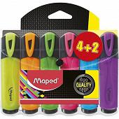 Maped surligneur couleurs assorties x4+2 jaunes 742548