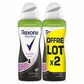 Rexona déodorant femme spray anti transpirant invisible pure 2x100ml