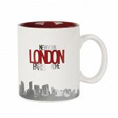 Mug grès 31cl Design London rouge