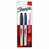 Sharpie 2 marqueurs fine noir/bleu