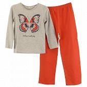 Pyjama long jersey manches courtes fille GRIS CHINE/FUSHIA 10 ANS