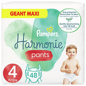 Pampers harmonie pants couches-culottes taille 4 , 48 culottes 9kg-14kg