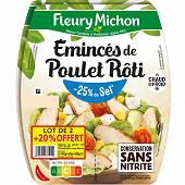 Fleury Michon émincés de poulet - 25% de sel lot de 2x75g + 20% offert