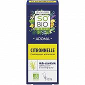 Huile essentielle citronnelle biologique anti-moustique 15ml so bio