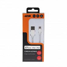 Apm Câble usb lightning mfi-apple 1m blanc 600224