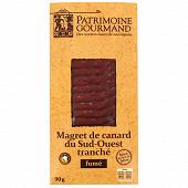 Patrimoine Gourmand magret de canard du Sud Ouest fumé au bois de hêtre tranché 90g